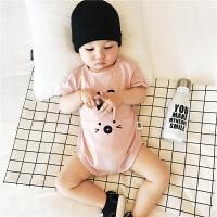 婴儿衣服爬爬服夏季 新生儿三角包屁哈衣纯棉短袖 宝宝连体衣