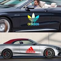 adidas潮牌三叶草车贴车身拉花划痕贴纸潮流嘻哈汽车改装阿迪达斯 45cm adidas七彩镭射一张