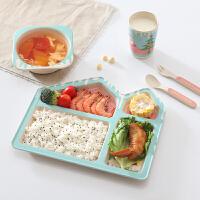 吃饭碗 竹纤维儿童餐具套装宝宝辅食分格餐盘婴儿家用饭碗勺子