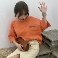字母短袖t恤女学生韩范夏季新款BF上衣宽松显瘦百搭打底衫潮