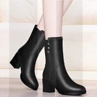 靴子女加绒中筒靴女粗跟2018新款冬季高跟鞋女士皮鞋中跟短靴女鞋SN0767