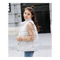 马甲女士秋冬季2018新款韩版加厚立领外穿背心学生马夹短款 米白色 605
