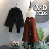 韩国冬装新品女童百搭高腰假两件毛呢加绒阔腿打底裤潮A8-S22