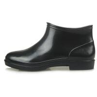 男防滑防水低帮短筒胶鞋春夏季水鞋青年厨师雨靴中筒轻便雨鞋 黑色 (收藏先发货)