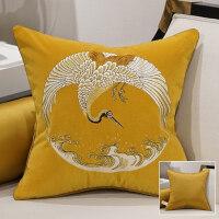 靠垫女王简约现代新中式沙发靠垫客厅靠垫抱枕床上靠枕含芯大靠背 鹤鸣 黄