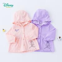 迪士尼Disney童装 女童外套春季新款外出休闲服宝宝花边帽纯棉蕾丝长袖小孩衣服191S1093