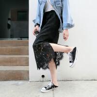S蕾丝半身裙春女黑色2018中长款韩版百搭高腰裙子网纱过膝长裙
