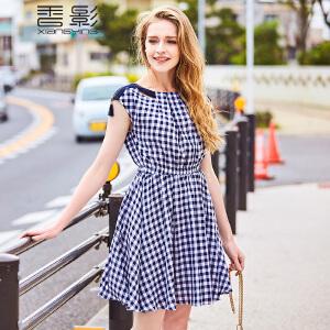 收腰百褶连衣裙女 香影2017夏装新款清新格纹收腰显瘦裙子百搭