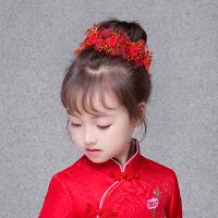 儿童公主发饰女孩珍珠花朵花童头饰红色配饰礼服演出发箍发卡头花7825 红色