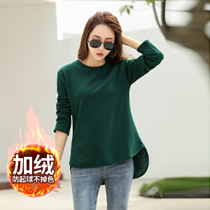 秋冬中长款长袖t恤女加绒加厚百搭打底衫宽松显瘦上衣纯色体恤