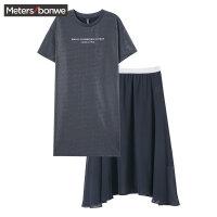 【1件5折价:99.5】美特斯邦威连衣裙套装女2019夏季新款两件套韩版可爱雪纺T恤裙女