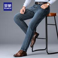 罗蒙男士牛仔裤秋季新款中青年修身百搭直筒裤子弹力时尚休闲长裤