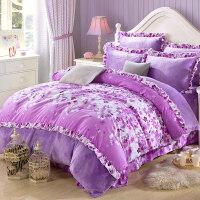 韩版珊瑚绒四件套加厚冬季保暖法莱绒1.8m床单被套床上用品法兰绒 2.0m床 (6.6英尺) 四件套