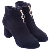 2018秋冬新款英伦时尚羊反绒高跟马丁靴粗跟圆头短靴侧拉链加绒女靴真皮