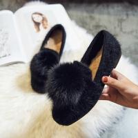 2018秋冬毛毛鞋女韩版百搭一脚蹬加绒浅口软底单鞋平底社会豆豆鞋