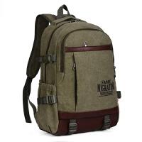 帆布双肩包韩版潮旅行包中学生书包大容量电脑包户外休闲男士包包