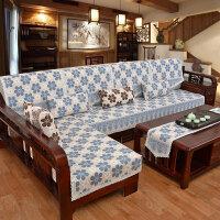 新款现代中式棉线沙发垫布艺坐垫实木四季通用沙发巾加厚花边