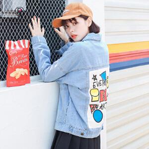欧若珂  2018秋季新款韩版学生印花宽松牛仔外套女