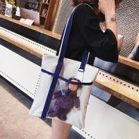 包包女2018新款潮韩国学生玩偶少女帆布手提单肩包百搭购物袋