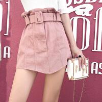 超高腰花苞牛仔半身裙女2018新款夏季韩版百搭系带显瘦蓝色牛仔裙 粉色 S