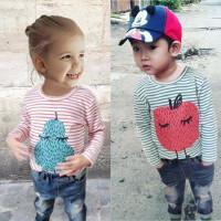 童装春季男女童纯棉梨子T条纹T恤宝宝红条纹苹果长袖T恤