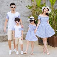 亲子装夏装新款潮全家装t母子母女装连衣裙一家三口男童春装