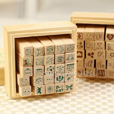 手帐韩国木质印章可爱DIY木盒印章 日记印章 Happy Life 快乐生活 25枚 2种款式随机发货/一盒