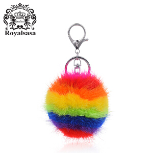 皇家莎莎毛球钥匙扣送女友车用水貂毛挂饰女士炫彩钥匙链时尚包挂件