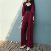 套装女春装时尚潮2018流行女装新款韩版开衫配休闲阔腿裤两件套