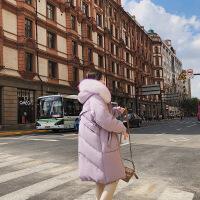 2018秋冬新款韩版彩色超大毛领羽绒服女中长款过膝宽松加厚外套潮 香芋紫