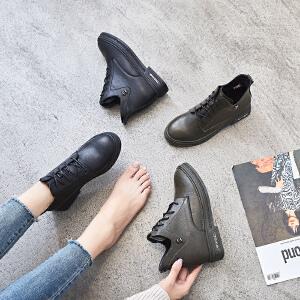 ZHR平底小短靴女春秋2018新款INS英伦风单靴学生韩版百搭网红靴子