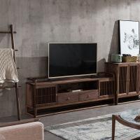 新中式实木电视柜电视柜茶几组合现代简约客厅小户型实木家具 黑胡桃木电视柜