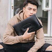 2018新款韩版青年包男包个性可折叠皮质手拿包时尚街头潮男手抓包