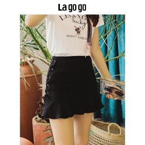 Lagogo2018夏季新款纯色高腰显瘦半身裙女修身绑带小黑裙短款裙子HABB135Y42