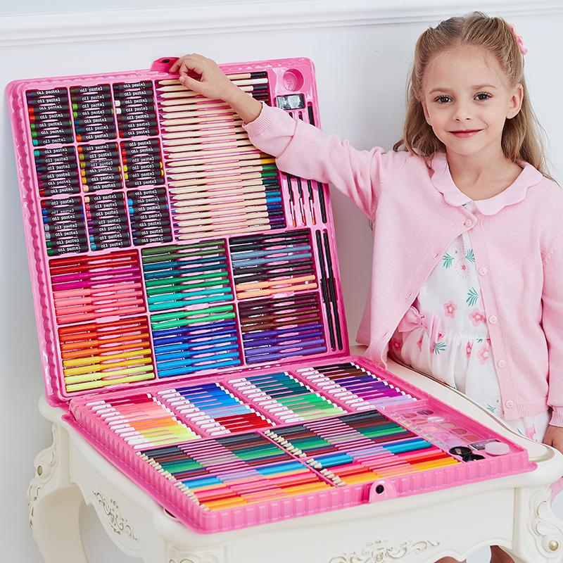 儿童水彩笔画画套装女孩幼儿园工具绘画笔礼盒小学生美术学习用品