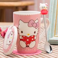 �R克杯陶瓷杯子可�劭ㄍ�kitty�P蒂�咖啡杯牛奶杯女水杯���w勺