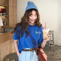 简约字母短袖t恤女2018春夏季新款韩版学生百搭宽松休闲显瘦上衣