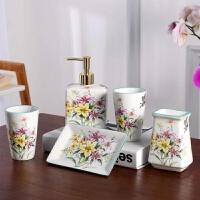欧式卫浴五件套家用陶瓷洗漱用品情侣漱口杯刷牙杯套装香皂盒牙具