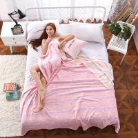 全棉六层纱巾毛巾被纯棉纱布空调被儿童宝宝盖毯子1.5m2.0毛巾毯 +枕套一对