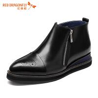 红蜻蜓男鞋春秋新款商务休闲皮鞋英伦雕花时尚高帮男皮鞋