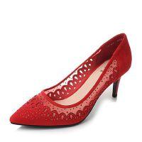 Tata/他她羊皮蕾丝网布水钻尖头细高跟婚鞋女皮鞋FB7QAAQ8