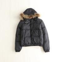 冬装女羽绒服 连帽波点学院风两面穿貉子毛条学生羽绒服外套