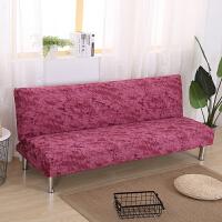 折叠沙发床套弹力简易沙发床罩包通用沙发套无扶手布艺 红棕色 泼墨-西瓜红 宽90-115cm 长160-195cm