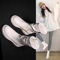 白色马丁靴女秋季2018新款英伦风学生韩版百搭短靴子女瘦瘦中筒靴hgl 米白色【薄绒】