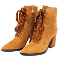 2018秋冬新款加绒马丁靴女英伦风粗跟高跟短靴子百搭磨砂少女鞋真皮