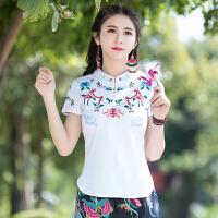 大码2018春夏新款 民族风刺绣针织上衣复古立领女装全棉短袖T恤