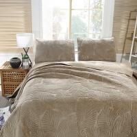 绒面绣花绗缝被AB版床盖三件套欧式床罩衍缝床单床罩纯棉水洗 新款绒面-卡其色