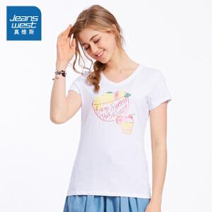 [尾品汇价:30.9元,20日10点-25日10点]真维斯女装 夏装V领印花短袖T恤