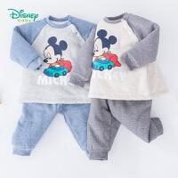 迪士尼Disney童装 男童夹棉保暖套装冬季新品米奇印花撞色肩开上衣保暖长裤2件套194T967