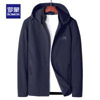 【1.5折价:99元】罗蒙(ROMON)男士短款夹克2021春秋新款中青年百搭上衣时尚纯色连帽外套男